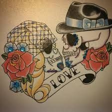 Image result for bride and groom sugar skull tattoo