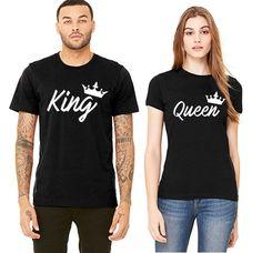 Handwrite King Queen Couple T-shirt
