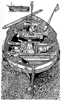 'Waiting for the Winch' :: Linocut by H. Linocut Prints, Art Prints, Black And White Sketches, Boat Art, Wood Engraving, Print Artist, Printmaking, Landscape Paintings, Illustration