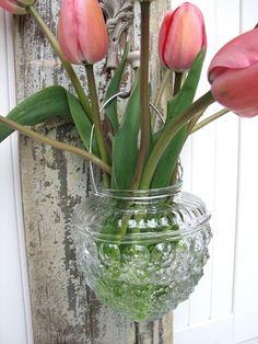 repurpose glass vases | Repurposed / D.I.Y. / Handmade Vintage Glass Light Cover Hanging Vase ...