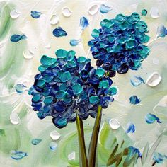 Original Impasto Oil Painting Hydrangeas Floral by LUIZAVIZOLI, $99.00