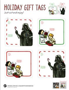 Star Wars gift tag printables freebies for holiday gifts #freeprintables #geeklove #starwarsprintables #holidaygifttags  http://www.chroniclebooks.com/blog/2014/12/11/merry-sithmas-a-giveaway/  download PDF tags #MerrySithmas #DarthVader #http://www.chroniclebooks.com/blog/wp-content/uploads/DVS_GiftTags_Update2014.pdf    cool Star Wars Postcards and journals for sale on site too