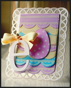 Lovely Colorful Easter Egg Card...by kazan clark.