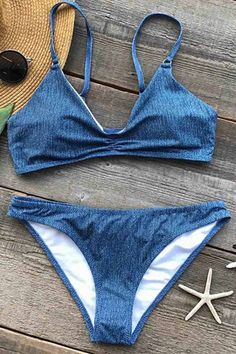 Cupshe Twinkling Blue Ink Bikini Set