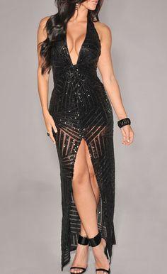 $65.99 | Black Sequined Maxi Dress Backless Long Dress, Halter Maxi Dresses, Sequin Dress, Sexy Dresses, Nice Dresses, Casual Dresses, Fashion Dresses, Girls Dresses, Bodycon Dress