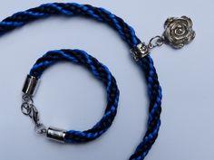 colar e pulseira em kumihimo   espiral kongo-gumi 8 fios, azul marinho e azul rei