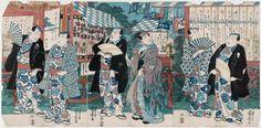 Kuniyoshi / Triptychon  Schauspieler promenierend