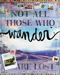 Wander II - 8 x 10 paper print  -  inspirational mixed media travel word art, typography with collage and text