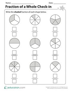 Students have been hard at work on their fractions practice this year, so now its time to see how far theyve come. This end-of-year check-in will help you assess student understanding of simple fractions of wholes. Free Fraction Worksheets, Math Fractions Worksheets, 3rd Grade Fractions, Fraction Activities, 2nd Grade Math Worksheets, Second Grade Math, School Worksheets, Free Printable Worksheets, Math Games