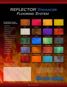 REFLECTOR™ Enhancer Flooring System HYDRA-STONE™ Dye Stain (Concrete Dye) CHEM-STONE™ Reactive Stain (Acid Stain) PORTION CONTROL COLORANT™ (Waterborne Stain)   E100™ Series Pre-Colored Epoxy Coatings   Elite Crete Australia 34 Moreland St, Footscray VIC 3011 Tel.# (03) 9689 4480