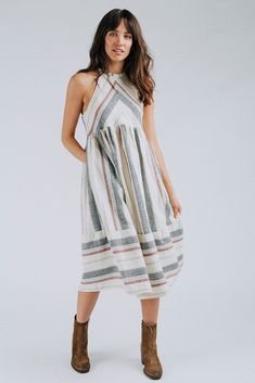 Details: Halter Dress Ivory with Red, Blue, Navy stripe Midi 100% Cotton Lining 100% Polyester Measurements: Measurements are approximate and taken while laying flat across the front. Not doubled. small: bust = 30 cm; waist = 61 cm; length = 110 cm medium: bust = 32 cm; waist = 62 cm; length = 113 cm large: bust = 34