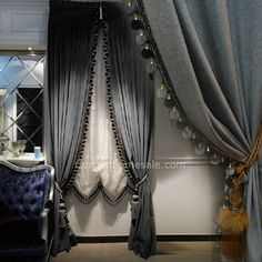 Luxury Europe style Italian velvet curtains with valance blackout thick solid curtains for bedroom window treatments Bedroom Curtains With Blinds, Luxury Curtains, Curtains Living, Velvet Curtains, Valance Curtains, Gray Curtains, Elegant Curtains, Window Blinds, Beautiful Curtains