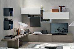 Risultati immagini per parete attrezzata soggiorno con scrivania angolo
