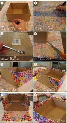 Think outside the box with these cardboard crafts. Think outside the box with these cardboard crafts Cardboard Storage, Cardboard Box Crafts, Diy Storage Boxes, Fabric Storage Bins, Craft Room Storage, Craft Organization, Fabric Covered Boxes, Fabric Boxes, Diy Para A Casa