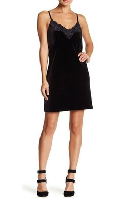 Love...Ady Women's Small Black Velvet Cami Slip Dress Lace Trim Stretch $128 NWT #LoveAdy #Sheath #CocktailVersatile