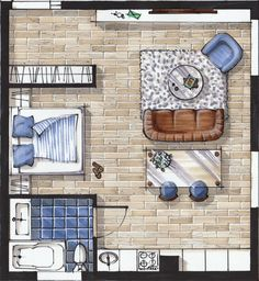 Sketch plan interior design drawing hand rendering marker sketch layout Online sketching courses for interior designers — Rendering Interior, Interior Design Renderings, Drawing Interior, Interior Sketch, Interior Design Tips, Interior Decorating, Simple Interior, Decorating Tips, Floor Plan Rendering
