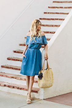 Chambray Off Shoulder Dress - Dash of Darling - Caitlin Lindquist. ♡ SL