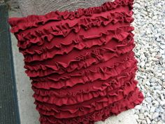 make a cute ruffle pillow from a t-shirt