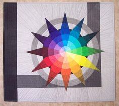"""Annie's 21st Birthday Quilt, 38 x 34"""", by Susan Stewart.  Design based on Johannes Itten's color star; hand painted fabric"""