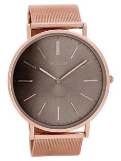 Oozoo C8178 Vintage XL Armbanduhr Roségold/Graubraun 9879012512846
