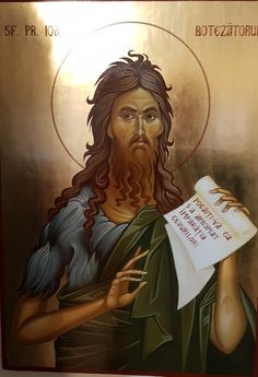 Saint John the Baptist Hand Painted Orthodox Byzantine Icon Byzantine Icons, Byzantine Art, Religious Icons, Religious Art, Saint Catherine Of Alexandria, Paint Icon, Religious Paintings, Christian Religions, Jean Baptiste