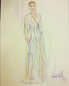 The Carbonne dress by @kathy_white .  She made this beautiful illustration after the catwalk show on Sunday ... if only my sketches were this beautiful! Happy Valentine's Day!