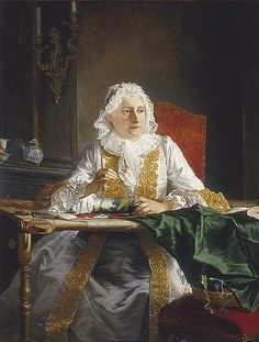 """AUTOR: Жак Андрэ Жозеф Авед   """"Мадам Крозат за вышивкой""""  1740-е «Впечатления дороже знаний...» - Рукоделие в живописи. За вышиванием."""