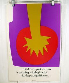 Vintage Motivational Poster - The Capacity To Care - 1970s Illustration by Patricia Ellen Ricci. $17.95, via Etsy.