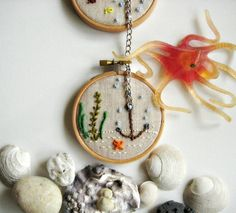 NAUTICAL WALL ART -Tugboat on the sea with anchor, a set of embroidered marine life hoop wall decoration. $45.00, via Etsy.