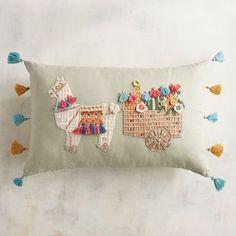 Shop for Llama Cart Lumbar Pillow by Pier 1 Imports at ShopStyle. Alpacas, Diy Pillows, Decorative Throw Pillows, Sewing Pillows, Llama Pillow, Llama Llama, Llama Arts, Llama Decor, Turquoise Door