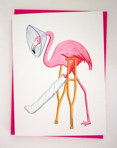 Get well card Pink flamingo card by AmelieCardsandPrints on Etsy, $5.00