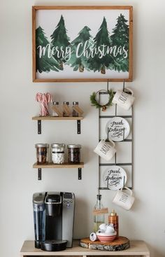 You HAVE TO check out these Christmas coffee bar and hot cocoa bar ideas! I'm so glad I found these cute topping ideas for our coffee bar, my home is going to look so cute! Pinning these farmhouse Christmas hot cocoa bar ideas for later! Farmhouse Christmas Decor, Rustic Christmas, Simple Christmas, Christmas Home, Merry Christmas, Xmas, Christmas Table Decorations, Festival Decorations, Bar Decorations