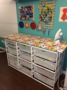 Quilting...ironing station with lots of fabric storage. Sewing Studio, Sewing Room Design, Craft Room Design, Quilt Storage, Fabric Storage Baskets, Wall Storage, Storage Bins, Sewing Room Storage, Sewing Room Organization