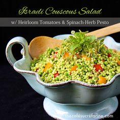 Israeli Couscous Salad w/ Heirloom Tomatoes & Spinach-Herb Pesto - thecafesucrefarine.com