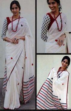 South Sarees Divine White and Pink Color Linen Designer Digital Print Sarees - Diwali Style Blouse Patterns, Saree Blouse Designs, Indian Dresses, Indian Outfits, White Saree, Simple Sarees, Saree Models, Elegant Saree, Casual Saree