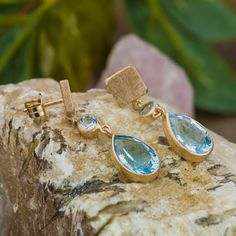 4.5CT Natural Topaz and Aquamarine set in 18K by ZEHAVAJEWELRY Wood Watch, Topaz, Trending Outfits, Natural, Unique Jewelry, Handmade Gifts, Earrings, Accessories, Etsy