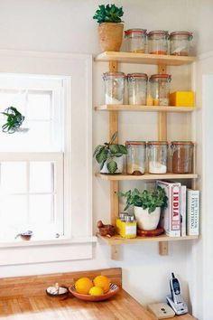 20 Best DIY Kitchen Upgrades - Home - Interior design - Shelves Diy Kitchen Storage, Kitchen Organization, Storage Jars, Storage Ideas, Small Storage, Extra Storage, Organization Ideas, Shelving Ideas, Storage Shelves
