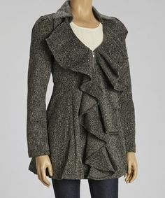 Take a look at this Charcoal Ruffle Wool-Blend Empire Waist Coat by Ryu on #zulily today!  $74.99 from 176.00
