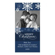 © 2014 Socialite Designs. Wish your family and friends merry Christmas with this elegant snowflake photo card.  Replace our photo with your special photo and add your own message.  A wonderful holiday photo card for a baby's first Christmas, newlyweds, family or business.