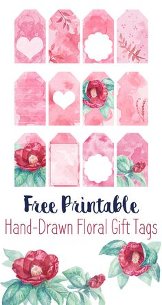 Free printable watercolor flower gift tags! Hand-drawn art turned into DIY printables, to use as gift labels or for your scrapbook & journal. Unique, vintage floral watercolour illustration perfect for spring! #freebies #printables #gifttags