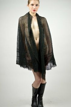 Late1800's European Handcrafted Black Shawl by buffalogalvintage, $120.00