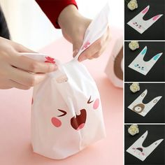 50pcs Cute Easter Bunny Cookies Bag Wedding Decoration Kawaii Rabbit Ear Plastic Candy Bag  Description : Cute Easter Bunny Cookies Bag 50pcs Wedding Decoration Kawaii Rabbit Ear Plastic Candy Bag These Easter candy bag is made of food graded plastic which can directly touch the food. Perfect for packaging cookies bread biscuit cupcake chocolates and much more. After wrapping them with this gift bag the whole is lovely with long rabbit ears handle for easy carry. Specification : Material…