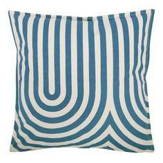 Geo Metric Canvas Pillow Cover in Teal by Thomas Paul