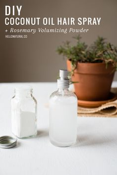DIY: Coconut Oil Hair Spray   Volumizing Powder | http://hellonatural.co/diy-coconut-oil-hair-spray-rosemary-volumizing-powder/