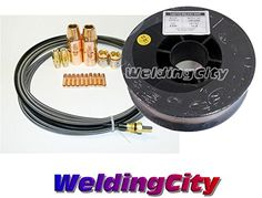 Cheap WeldingCity MIG Welding Wire ER70S-6 11-lb Spool (0.035) and Accessory Kit 0.035 Nozzle-Contact Tip-Diffuser-Liner for Miller Millermatic M-25 M-40 MIG Guns deals week