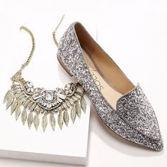Sole Society Cammila silver smoking slippers + crystal leaf statement necklace