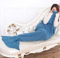 Knit Mermaid Blanket 195x90cm