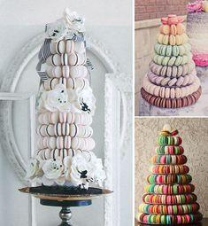 Tasty wedding cake alternatives for a unique reception macaron tower. I love this idea!