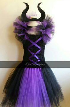 "Evil Queen Maleficent inspired Tutu Dress with spikey tulle ""sleeves""  and horn headband, Birthday dress, Princess Dress, Dress up, Costume. by ForYouWithLuv on Etsy https://www.etsy.com/listing/220715423/evil-queen-maleficent-inspired-tutu"