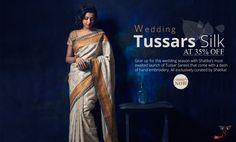 Newly Arrived Wedding #tussarsilksarees at flat 35% OFF